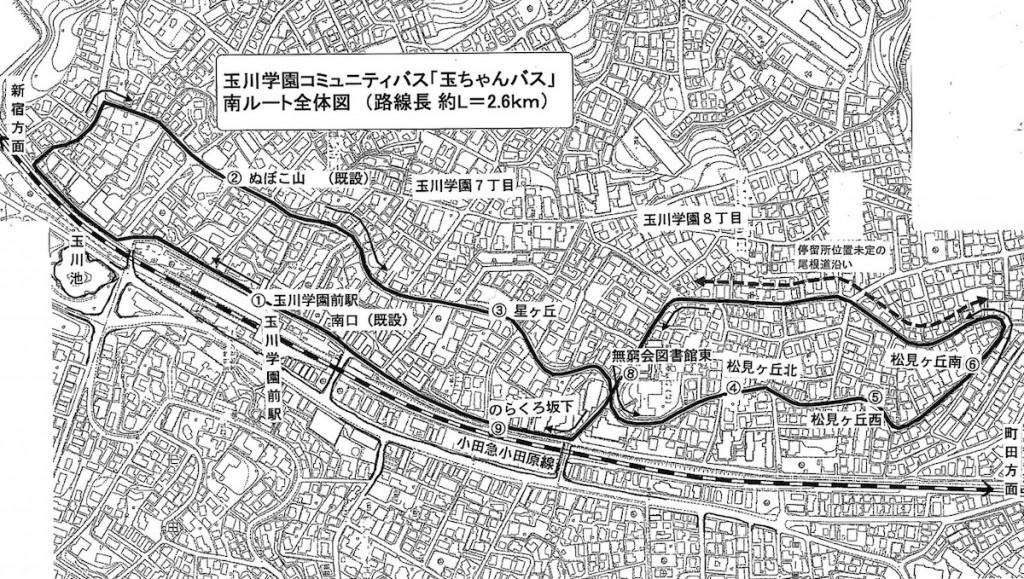 玉ちゃんバス南ルート図